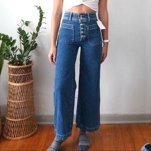 Free People Colette Wide Leg Jeans in True Blue